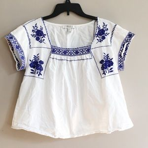 Forever 21 White Top with Blue Embroidered Design